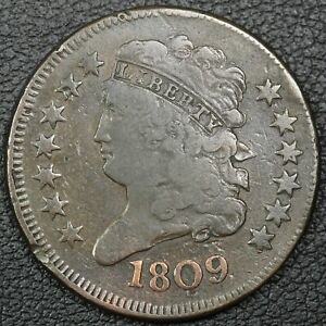 1809 CLASSIC HEAD COPPER HALF CENT   CLEANED
