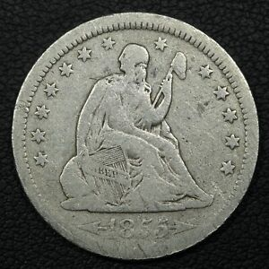 1855 W/ ARROWS SEATED LIBERTY SILVER QUARTER
