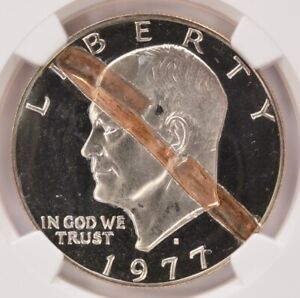 Click now to see the BUY IT NOW Price! NGC $1 1977 S PROOF IKE DOLLAR STRUCK IN AND RETAINED COPPER STAPLE OBVERSE PF65