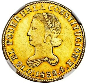Click now to see the BUY IT NOW Price! ECUADOR 1838 ST GOLD 4 ESCUDOS NGC AU50  RARITY