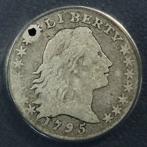 1795 FLOWING HAIR SILVER HALF DIME ANACS VG 08 DETAILS   HOLED