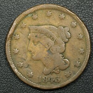 1843 BRAIDED HAIR COPPER LARGE CENT