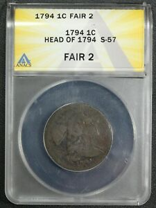 1794 S 57 HEAD OF 1794 LIBERTY CAP COPPER LARGE CENT ANACS FR 02