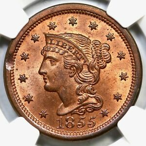 1855 N 10 NGC MS 64 RB CAC BRAIDED HAIR LARGE CENT COIN 1C