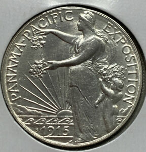 UNCIRCULATED 915 PANAMA PACIFIC EXPOSITION SILVER HALF DOLLAR BEAUTIFUL LUSTER.