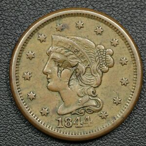 1844 N 4 '7' COUNTERSTAMP BRAIDED HAIR COPPER LARGE CENT