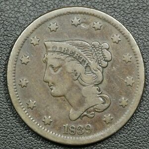 1839 PETITE HEAD TYPE OF 1840 BRAIDED HAIR COPPER LARGE CENT