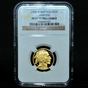 2008 W $10 PROOF GOLD AMERICAN BUFFALO  NGC PF 69 U CAM  1/4 .9999 TRUSTED