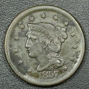1857 LARGE DATE BRAIDED HAIR COPPER LARGE CENT   CORROSION