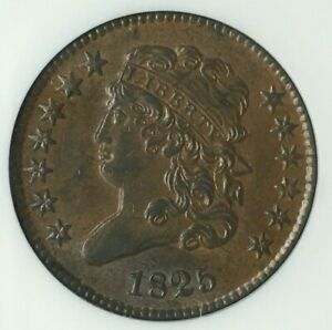 1825 HALF CENT   NGC CERTIFIED   MS 62   BROWN