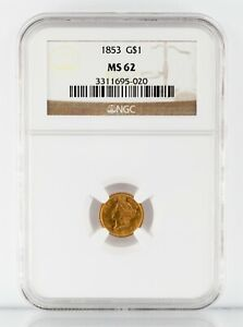 1853 $1 GOLD INDIAN PRINCESS COIN GRADED BY NGC AS MS 62  GORGEOUS EARLY US GOLD