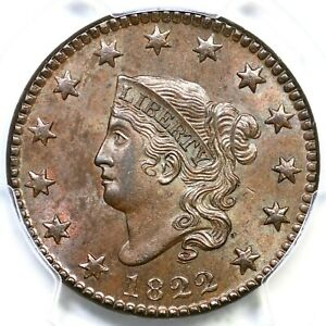 Click now to see the BUY IT NOW Price! 1822 N 5 R 3 PCGS MS 64 BN MATRON OR CORONET HEAD LARGE CENT COIN 1C