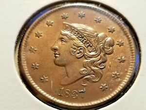 1837 CORONET HEAD LARGE CENT BEAUTIFUL COIN WITH LUSTER   INV12    P1207