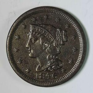 1846 U.S. BRAIDED HAIR LARGE CENT EARLY COPPER TYPE COIN