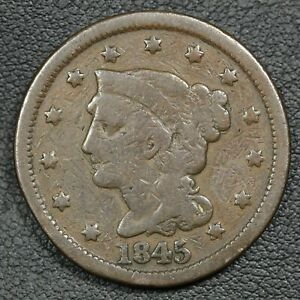 1845 BRAIDED HAIR COPPER LARGE CENT