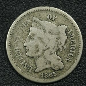 1865 NICKEL THREE CENT PIECE