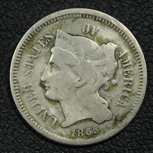 1865 NICKEL THREE CENT PIECE   CLEANED