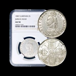 Click now to see the BUY IT NOW Price! 1887 GREAT BRITAIN FLORIN  SILVER    NGC AU58  CHOICE    DDO  VARIETY DISCOVERY