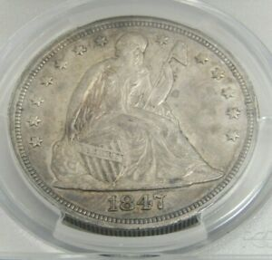 1847 SEATED LIBERTY DOLLAR CERTIFIED PCGS AU 50 GOLD SHIELD