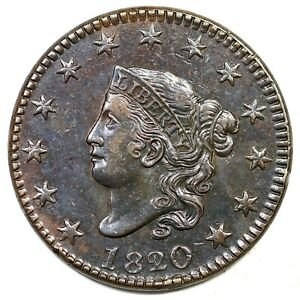 1820/19 N 1 MATRON OR CORONET HEAD LARGE CENT COIN 1C