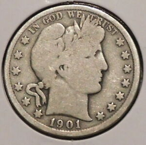 BARBER HALF   1901   HISTORIC SILVER    $1 UNLIMITED SHIPPING