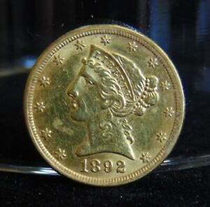 1892 LIBERTY HEAD $5 GOLD HALF EAGLE COIN PRE 1933 AU VARIETY 2 WITH MOTTO