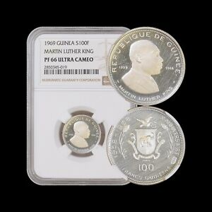 Click now to see the BUY IT NOW Price! 1969 GUINEA 100 FRANCS  SILVER    NGC PF66 UC    MARTIN LUTHER KING JR. MLK