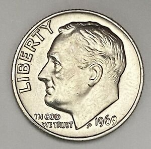 1969 ROOSEVELT DIME 10 CENTS UNCIRCULATED COIN   2621