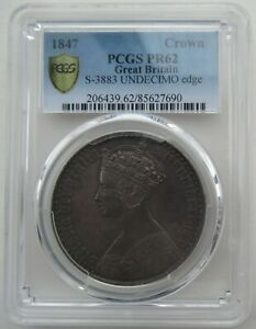 Click now to see the BUY IT NOW Price! PCGS PR62 GREAT BRITAIN UK 1847 QUEEN VICTORIA GOTHIC PROOF SILVER COIN 1 CROWN
