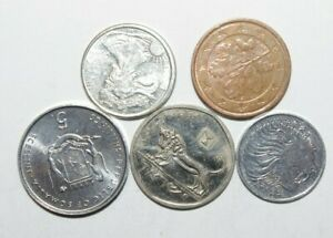 WORLD COINS GREAT GP. FROM ALLOVER LOT OF 5 COINS W/ UNC OR HIGH GRADE VALUE B41