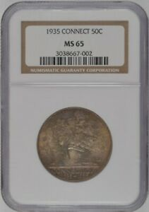 1935 U.S. 50   CONNECTICUT HALF DOLLAR   NGC MS65