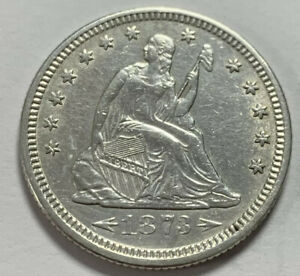 BEAUTIFUL UNCIRCULATED SILVER 1873 SEATED LIBERTY QUARTER W/ARROWS  CHOICE COIN