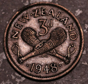 NEW ZEALAND 3 PENCE THREEPENCE 1948  BETTER DATE