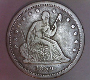 1839 SEATED LIBERTY QUARTER DOLLAR FINE DETAILS US NO MOTTO TYPE COIN
