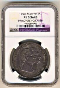 1900 LAFAYETTE SILVER DOLLAR $1 NGC AU DETAILS CLEANED