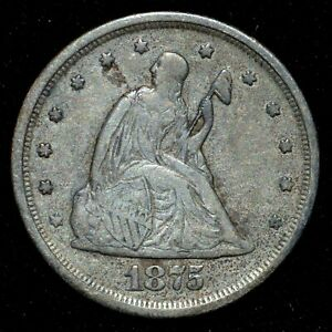 1875 S 20 CENT PIECE  VF FINE  20C  NOW TYPE COIN  Q94TRUSTED