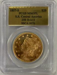 Click now to see the BUY IT NOW Price! 1857 S $20 LIBERTY HEAD GOLD SS CENTRAL AMERICA GOLD 20B BOLD S MS 63 PL PCGS