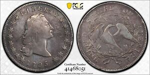 1795 FLOWING HAIR SILVER DOLLAR    2 LEAF VERSION  PCGS VF DETAILS   CLEANED