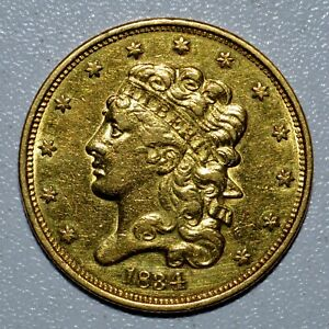 1834 $5 CLASSIC HEAD GOLD PIECE  AU ALMOST UNC DETAILS  CLEANED H69 TRUSTED