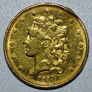 1834 $5 CLASSIC HEAD GOLD PIECE  AU ALMOST UNC DETAILS  CLEANED  TRUSTED