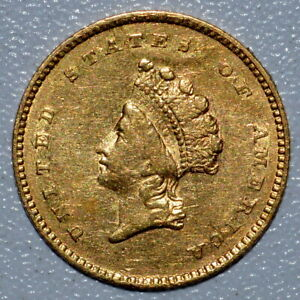 1854 $1 GOLD DOLLAR  XF EXTRA FINE DETAILS  G$1 CLEANED TYPE 2 T2 B7 TRUSTED