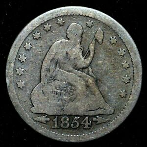 1854 P SEATED LIBERTY QUARTER  VG GOOD  25C NO MOTTO W/ ARROWS TRUSTED