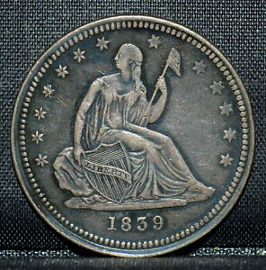 1839 P SEATED LIBERTY QUARTER  XF DETAILS  25C EXTRA FINE NO MOTTO TRUSTED