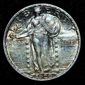 1928 S STANDING LIBERTY QUARTER  CH AU ALMOST UNC DETAILS  25C  TRUSTED
