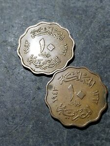 2 COIN LOT. EGYPT KINGDOM 2 10 MILLIEMES COINS 1943  1362  EGYPT KING FAROUK 01