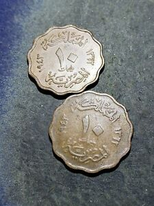 2 COIN LOT. EGYPT KINGDOM 2 10 MILLIEMES COINS 1943  1362  EGYPT KING FAROUK 02