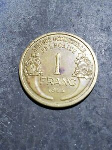 1944 FRENCH WEST AFRICA ONE FRANC COIN 211