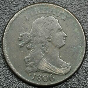 1806 ROTATED DIES ERROR DRAPED BUST COPPER HALF CENT   CORRODED