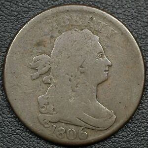 1806 ROTATED DIES ERROR DRAPED BUST COPPER HALF CENT