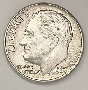 1963 D/D ROOSEVELT DIME 10 0.900 SILVER REPUNCHED MINTMARK ERROR COIN   1553